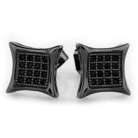 Affordable 18k Black Gold Iced Out Kite Square Stud Hip Hop Earrings - White Background