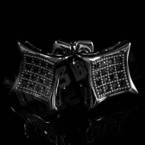 Affordable 18k Black Gold Iced Out Kite Square Stud Hip Hop Earrings - Black Background