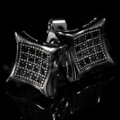 18k Black Gold Iced Out Kite Square Stud Earrings