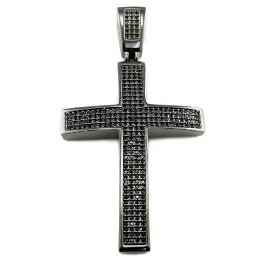 Affordable 18k Black Gold Jesus Cross 1 With Rope Hip Hop Chain - Front View