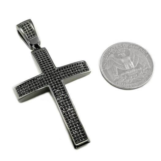 18k Black Gold Jesus Cross 1 With Rope Chain