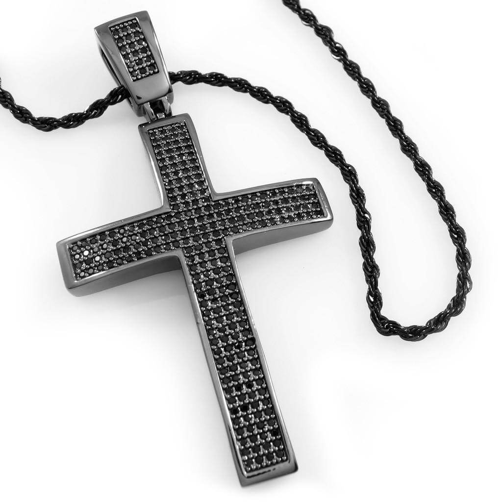 Affordable 18k Black Gold Jesus Cross 1 With Rope Hip Hop Chain - White Background