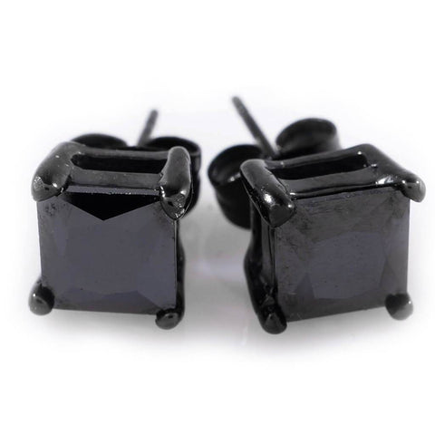 Affordable 18k Black Gold Stainless Steel Square Stud Hip Hop Earrings - White Background