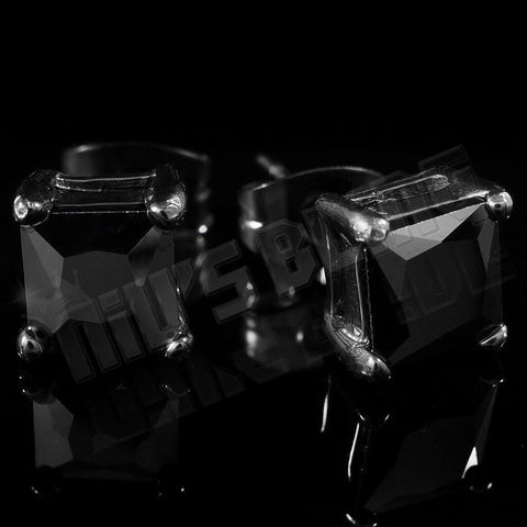 18k Black Gold Stainless Steel Square Stud Earrings