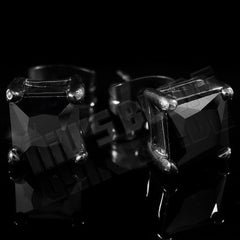 Affordable 18k Black Gold Stainless Steel Square Stud Hip Hop Earrings - Black Background