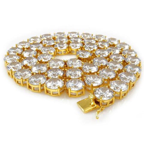 18k Gold 1 Row 12MM Iced Chain
