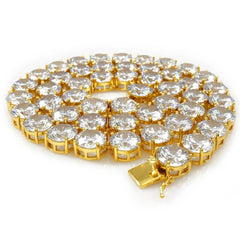 18k Gold 1 Row 12MM Iced Out Chain