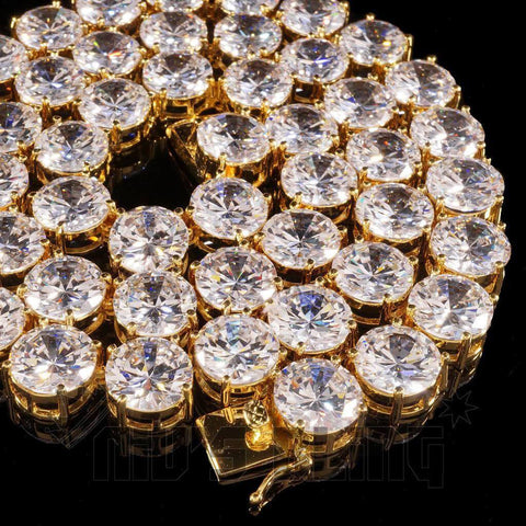 Affordable 18k Gold 1 Row 12MM Iced Out Hip Hop Chain - Close Up
