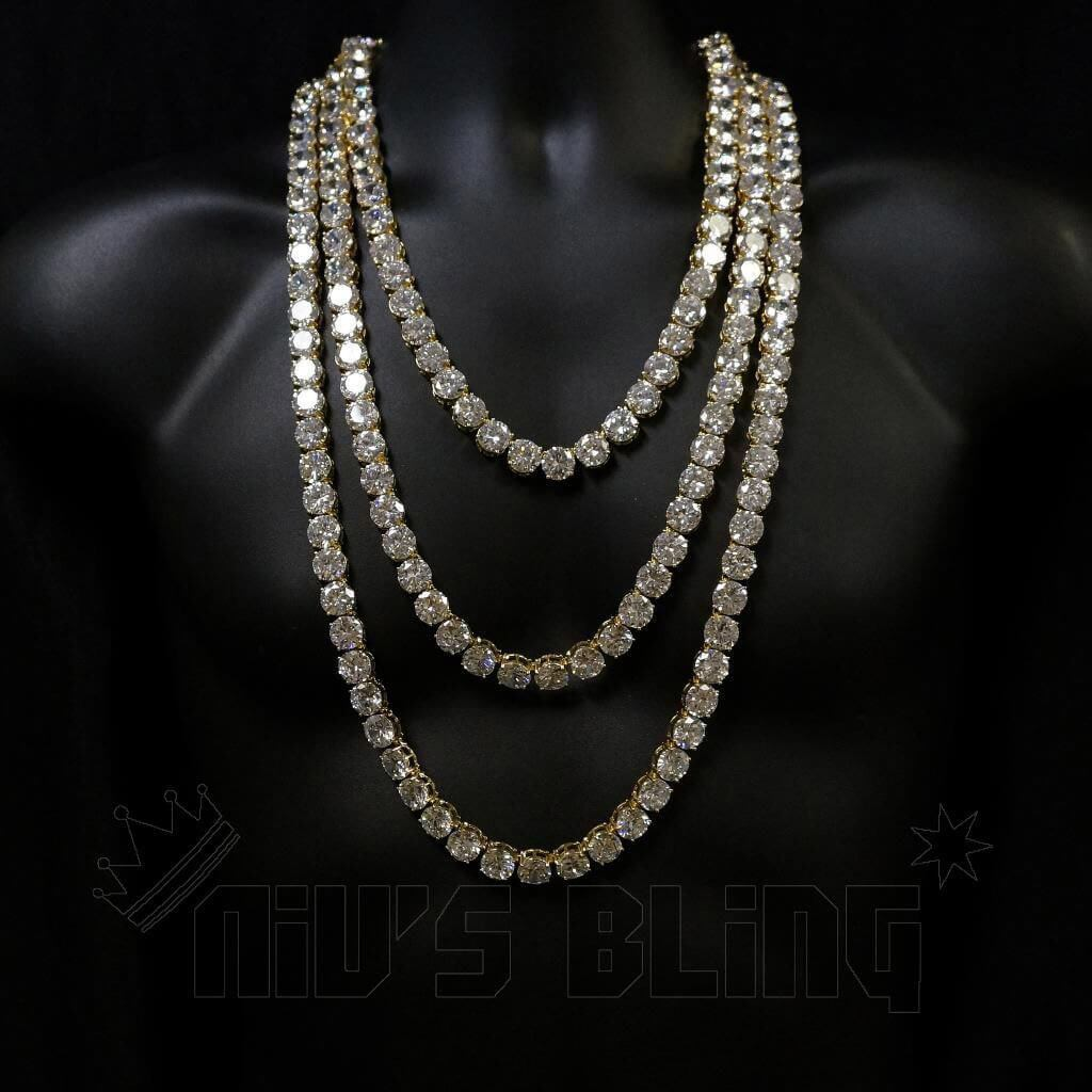Affordable 18k Gold 1 Row 12MM Iced Out Hip Hop Chain - On Mannequin