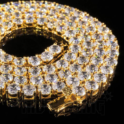 Affordable 18k Gold 1 Row 5MM Iced Out Hip Hop Chain - Close Up