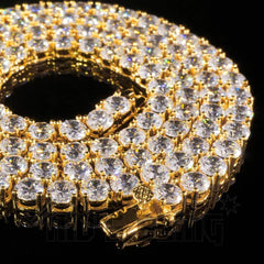 18k Gold 1 Row 5MM Iced Chain