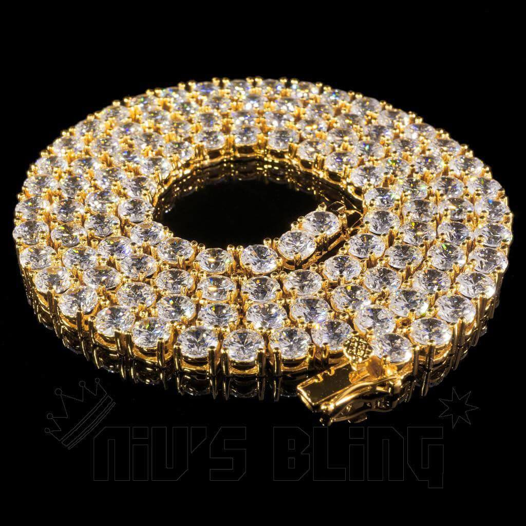 Affordable 18k Gold 1 Row 5MM Iced Out Hip Hop Chain - Whole View
