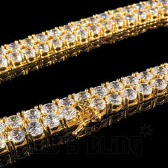 Affordable 18k Gold 1 Row 5MM Iced Out Hip Hop Chain - Side View With Closed Box Clasp