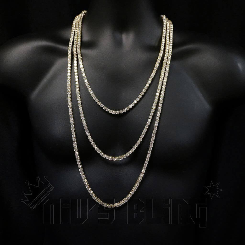 Affordable 18k Gold 1 Row 5MM Iced Out Hip Hop Chain - On Mannequin