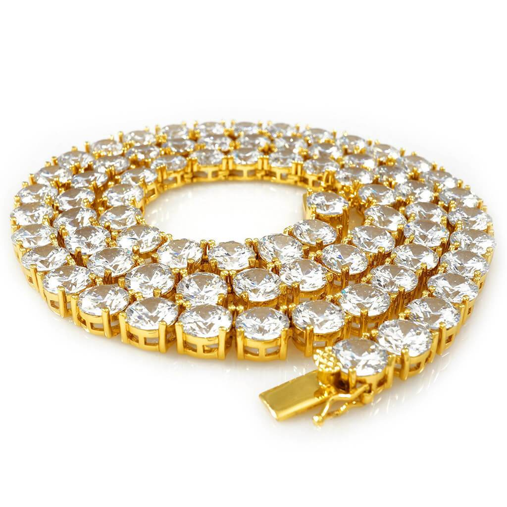 Affordable 18k Gold 1 Row 8MM Iced Out Hip Hop Chain - White Background