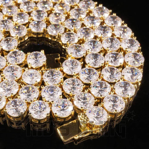 Affordable 18k Gold 1 Row 8MM Iced Out Hip Hop Chain - Close Up