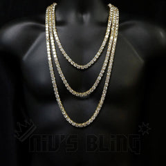 Affordable 18k Gold 1 Row 8MM Iced Out Hip Hop Chain - On Mannequin