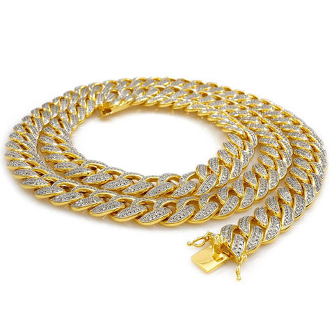 Affordable 18k Gold 2 Row Iced Cuban Hip Hop Chain Link Miami - White Background
