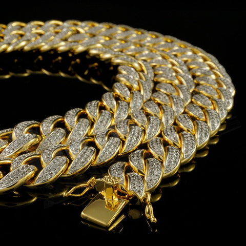 Affordable 18k Gold 2 Row Iced Cuban Hip Hop Chain Link Miami - Close Up