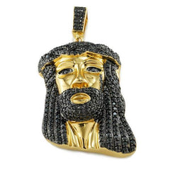 Affordable 18k Gold Black Iced Mini Jesus Piece 8 With Rope Hip Hop Chain - Front View