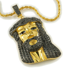Affordable 18k Gold Black Iced Mini Jesus Piece 8 With Rope Hip Hop Chain - White Background
