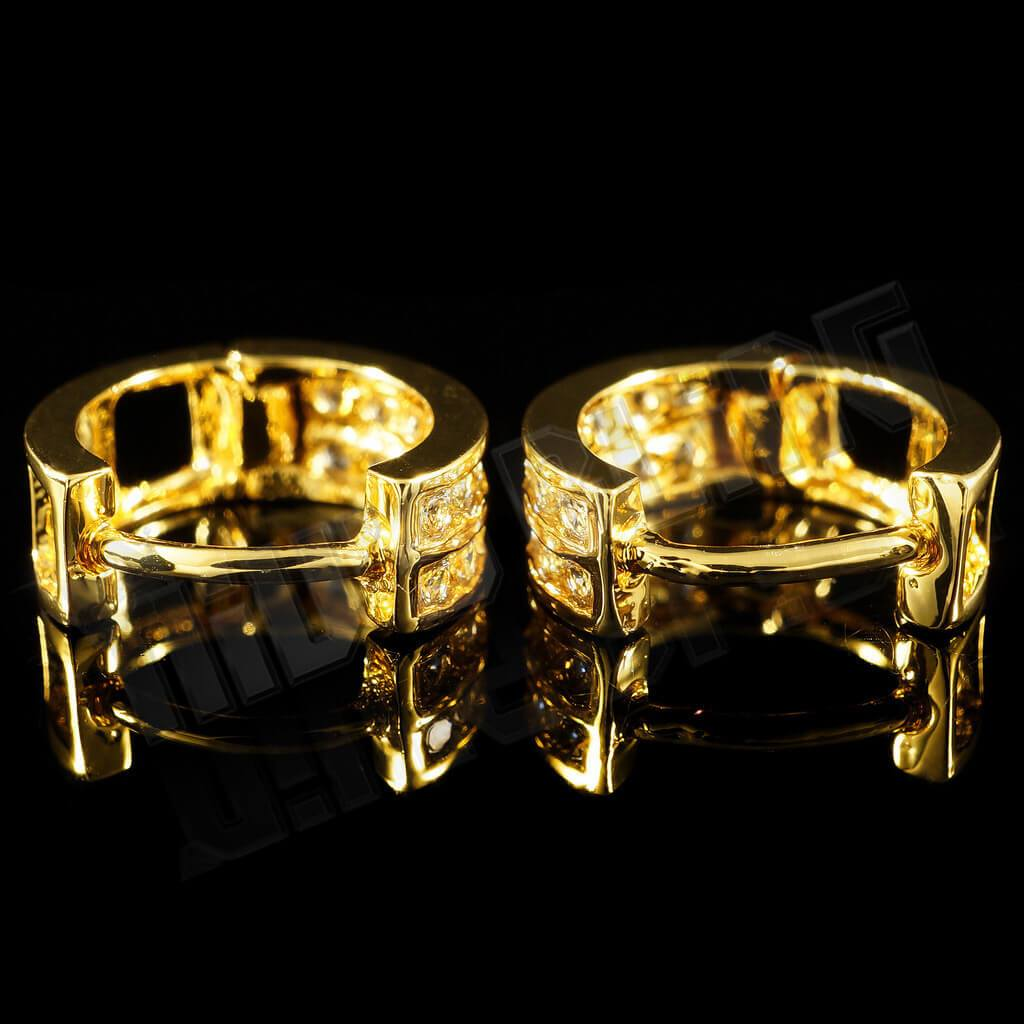 Affordable 18k Gold Huggie Hoop Leverback Hip Hop Earring - Clasp view