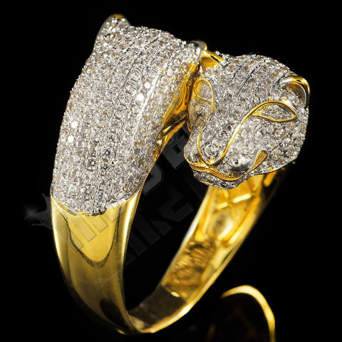 18k Gold Iced Dual Panther Jaguar Ring