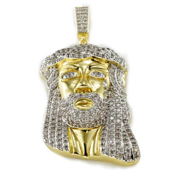 Affordable 18k Gold Iced Mini Jesus Piece 8 With Rope Hip Hop Chain - Front View