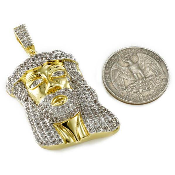 Affordable 18k Gold Iced Mini Jesus Piece 8 With Rope Hip Hop Chain - Coin Comparison