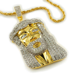 Affordable 18k Gold Iced Mini Jesus Piece 8 With Rope Hip Hop Chain - White Background