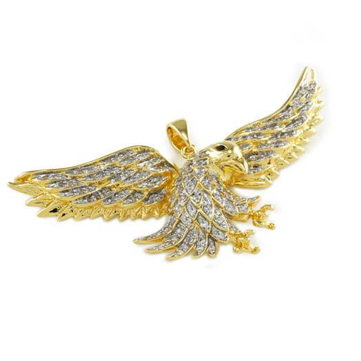 18k Gold Iced Bald Eagle Pendant with Box Chain