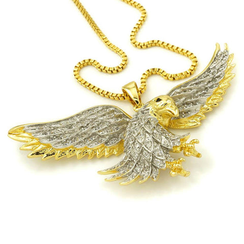 Affordable 18k Gold Iced Out Bald Eagle Pendant With Box Hip Hop Chain - White Background