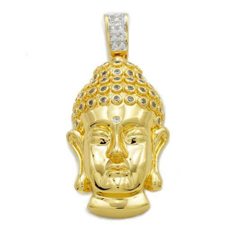 Affordable 18k Gold Iced Out Buddha Pendant With Hip Hop Chain - Front View