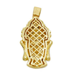 18k Gold Iced Buddha Pendant With Box Chain