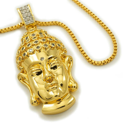 Affordable 18k Gold Iced Out Buddha Pendant With Hip Hop Chain - White Background