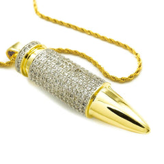 18k Gold Iced Bullet with Rope Chain