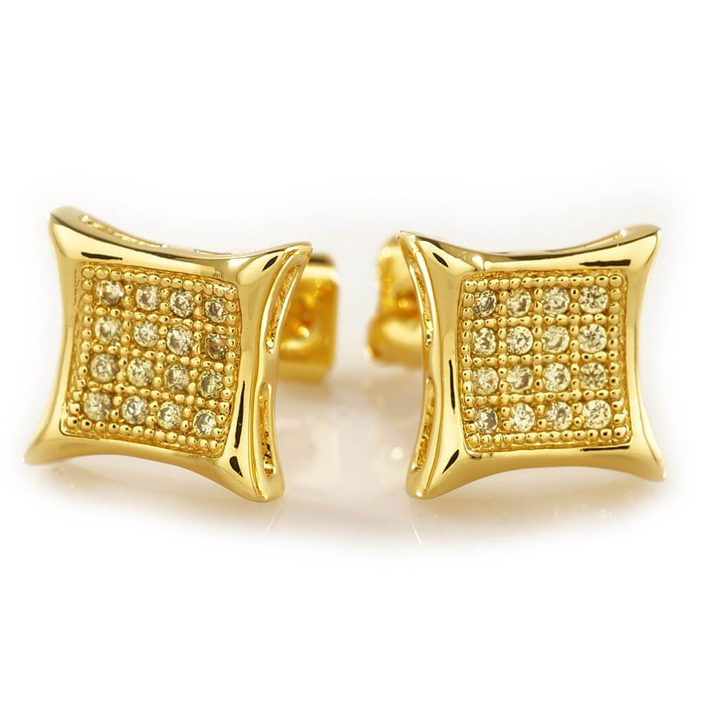 18k Gold Iced Out Canary CZ Square Kite Stud Earrings