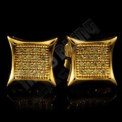 18k Gold Iced Canary CZ Square Kite Stud Earrings
