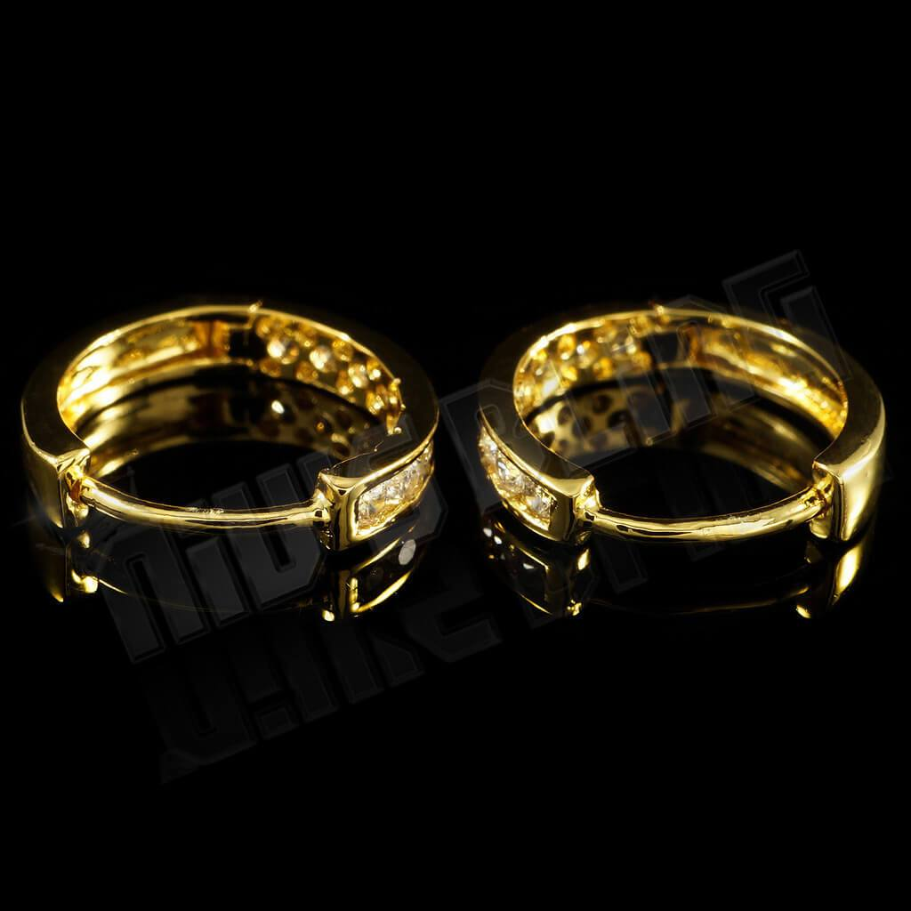 18k Gold Iced Huggie Hoop Earrings