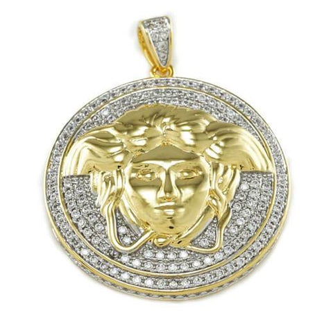 Affordable 18k Gold Iced Out Medusa Hip Hop Pendant - Front View