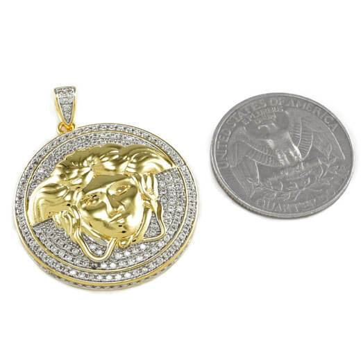 18k Gold Iced Medusa Pendant with Box Chain