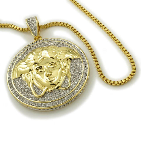 18k Gold Iced Out Medusa Pendant with Box Chain