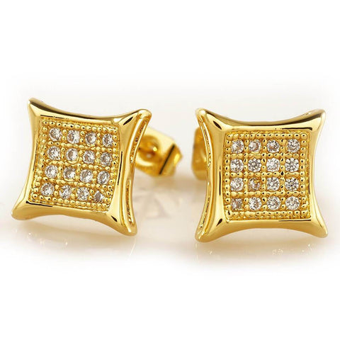 18k Gold Iced Square Kite Stud Earrings