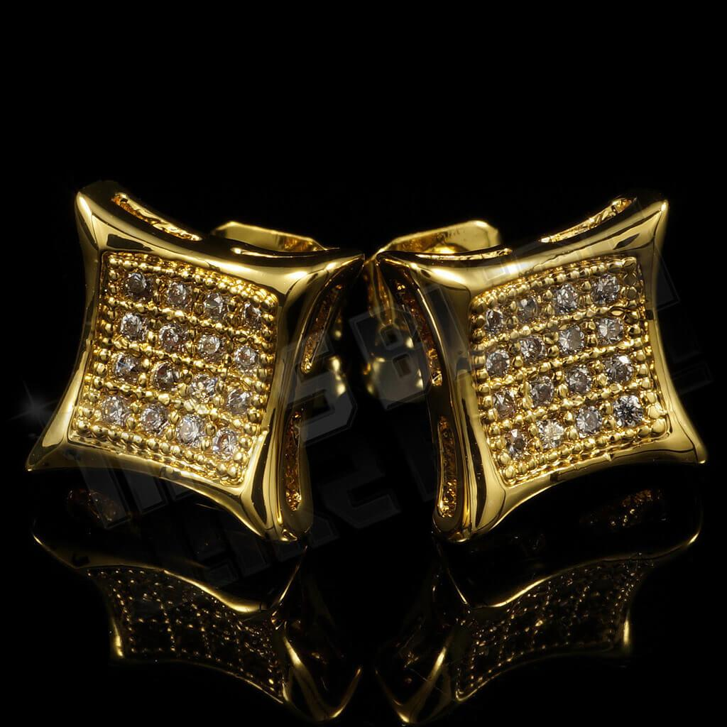 Affordable 18k Gold Iced Out Kite Square Stud Hip Hop Earrings - Black Background