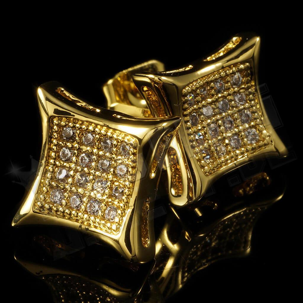 Affordable 18k Gold Iced Out Kite Square Stud Hip Hop Earrings - Side View