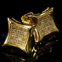 18k Gold Iced Out Square Kite Stud Earrings