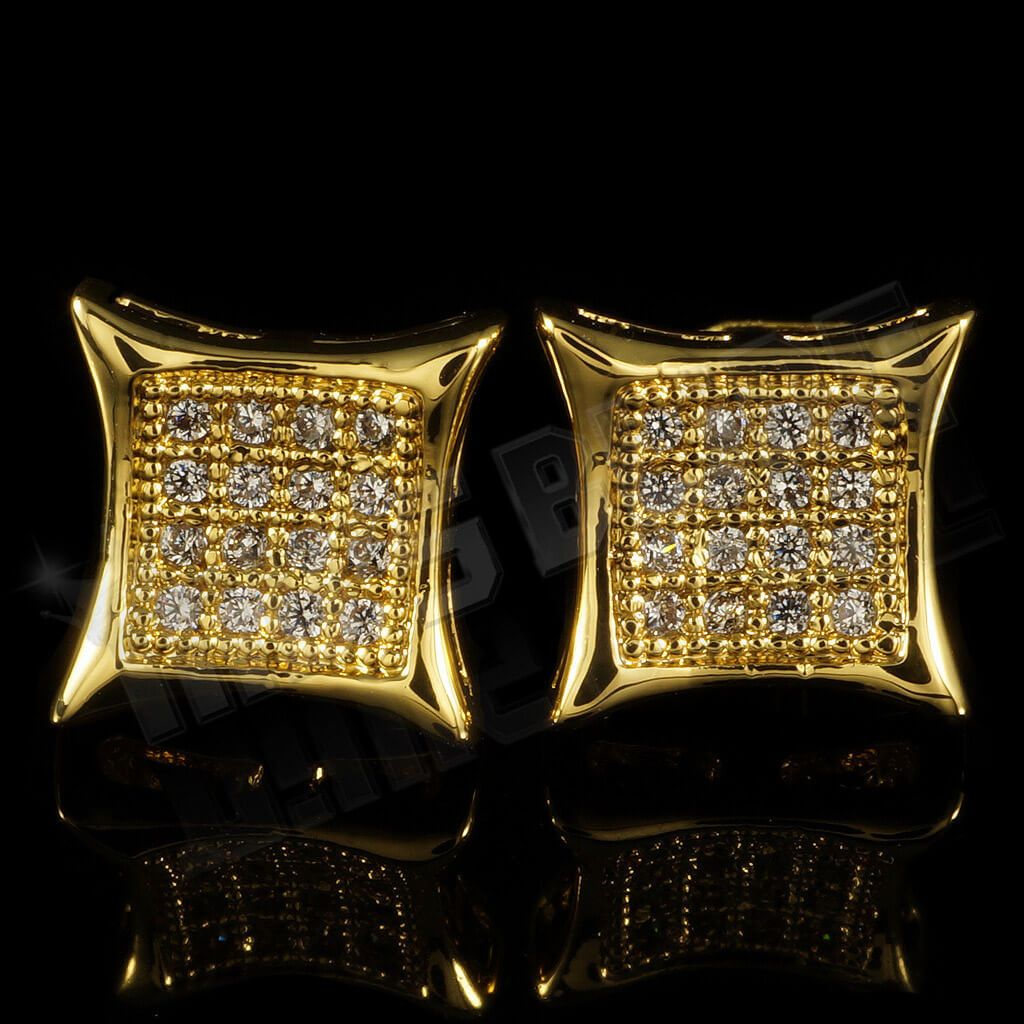 Affordable 18k Gold Iced Out Kite Square Stud Hip Hop Earrings - Front View