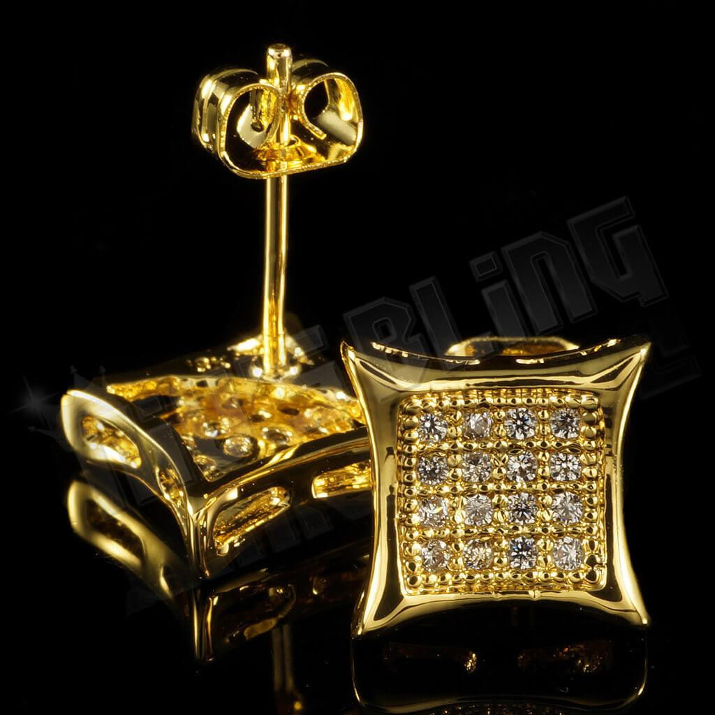 Affordable 18k Gold Iced Out Kite Square Stud Hip Hop Earrings - Back View with Stud