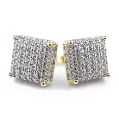 Affordable 18k Gold Iced Out Square Stud Hip Hop Earrings - White Background
