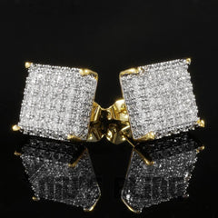 Affordable 18k Gold Iced Out Square Stud Hip Hop Earrings - Front View